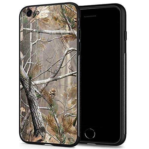 (iPhone 6s Case,9H Tempered Glass iPhone 6 Cases for Men Boys,Cool Camouflage Tree Pattern Design Printing Shockproof Anti-Scratch Case for Apple iPhone 6/6s 4.7 inch Camo Tree)