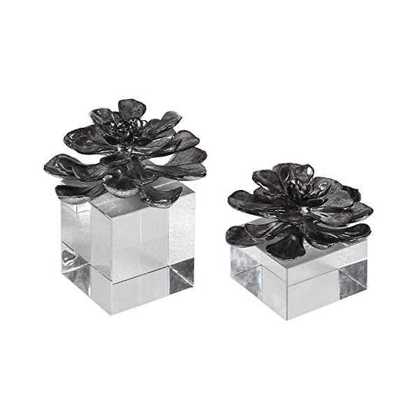 Argon Lights The Indian Lotus Metallic Silver Flowers S/2 by David Frisch