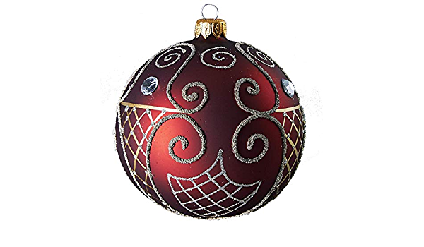 Glassor Large Ruby Ball With Gold Design Work Christmas Ornament Furniture Decor