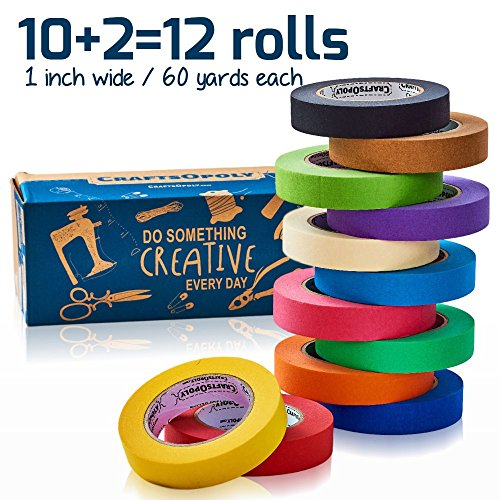 CraftsOpoly Colored Masking Tape Set [10 + Bonus 2 = 12 Pack Variety-Assorted Colors] Fun DIY Art Supplies For Kids, Toddlers, Adults, Artists Crafts and Organizer. Bright Colors. Moving Essentials.