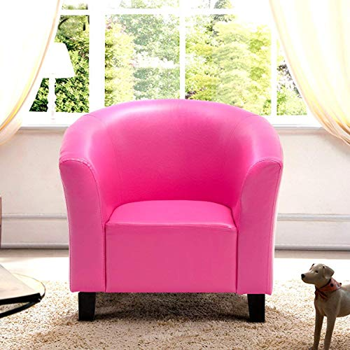 """Costzon Armchair Kids, Tub Chair Couch Children Living Room Toddler Furniture (PU Leather, Rose) Sofas, 22"""" x 16.5"""" x 16"""" (LxWxD)"""