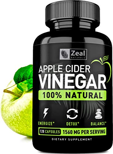 100% Natural Raw Apple Cider Vinegar Pills (1560 mg | 120 Capsules) Pure Apple Cider Vinegar with Cayenne Pepper for Fast Weight Loss Cleanse, Appetite Suppressant, & Bloating Relief (Best Apple Cider Vinegar Pills For Weight Loss)