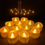 96 Pack Amber Yellow Flameless Candles With Timer - 6 hrs On 18 hr Off - Battery Operated Candles in Bluk , Flickering LED Tea lights Mini Pillar For Wedding Party and Birthday Indoor Decoration