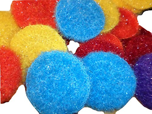 (Kitchen Doodads - Crochet Trinkets Crocheted Scrubbies - Pot Pan Scrubbies Sparkle Nylon - Skin Exfoliators - Set of 3 - Colors Vary - Made in USA)