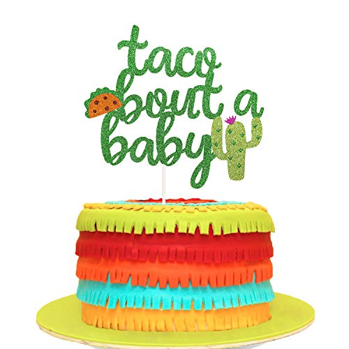 Taco Bout a Baby Cactus Cacti Cake Topper Green Glitter Fiesta Festive Party Supplies Baby Shower -