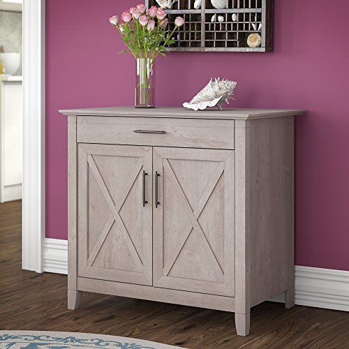 (Bush Furniture Key West Secretary Desk with Keyboard Tray and Storage Cabinet in Washed Gray)