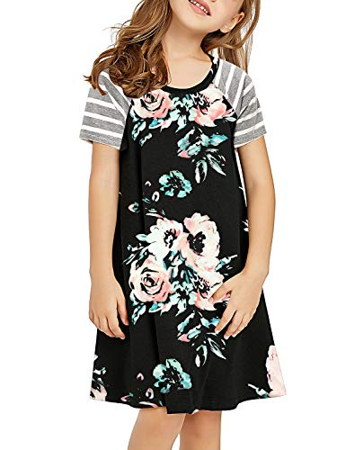 GRAPENT Girls Casual Black Floral Ruffle Stripe Short Sleeves Loose Tunic Shirt Dress X-Large (10-11 Years)