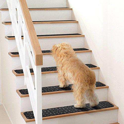 Elogio Carpet Stair Treads Set of 13 Non Slip/Skid Rubber Runner Mats or Rug Tread - Indoor Outdoor Pet Dog Stair Treads Pads - Non-Slip Stairway Carpet Rugs (Gray) 8'' x 30'' Includes Adhesive Tape by Elogio (Image #1)