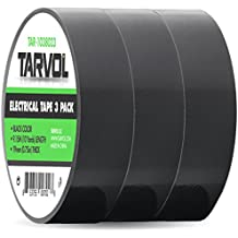 "Black Electrical Tape (GIANT 3 PACK) Each Roll is 3/4"" x 30' - High End Industrial Grade - Rated to 176 Degrees & 600 Volts - Waterproof Vinyl Insulating Backing - Perfect for Electric Wiring Projects"