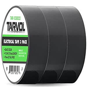 """Black Electrical Tape (GIANT 3 PACK) Each Roll is 3/4"""" x 30' - High End Industrial Grade - Rated to 176 Degrees & 600 Volts - Waterproof Vinyl Insulating Backing - Perfect for Electric Wiring Projects"""