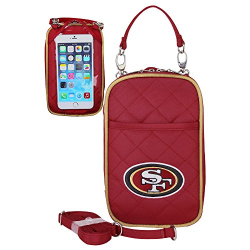 Charm14 NFL San Francisco 49ers Women's Crossbody Bag Quilt-Embroidered Logo-Fits All Phones by Little Earth ()