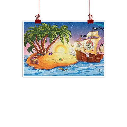 Sunset glow Home Wall Decorations Art Decor Pirate Ship,Ghost Ship on Exotic Sea Near Treasure Island with Palm Trees and Open Chest, Multicolor 48