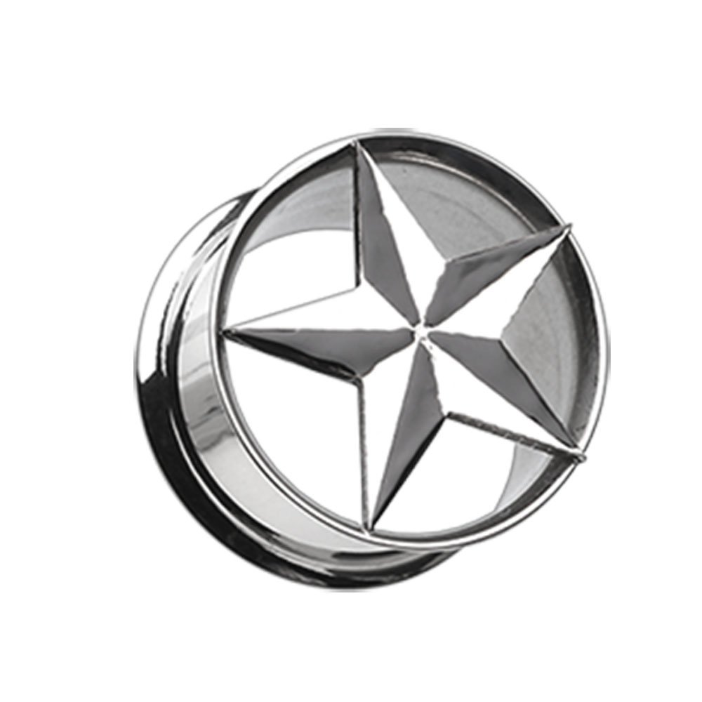 Sold as Pairs Inspiration Dezigns Nautical Star Hollow Steel Double Flared Plugs