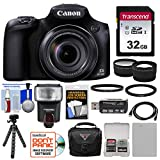 Canon PowerShot SX60 HS Wi-Fi Digital Camera with 32GB Card + Case + Flash + Battery + Tripod + Tele/Wide Lens Kit