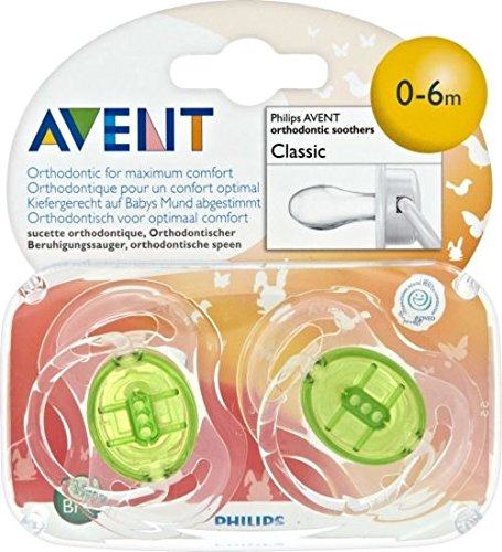 Avent Translucent Classic Soothers 0-6mths (2) - Pack of 6