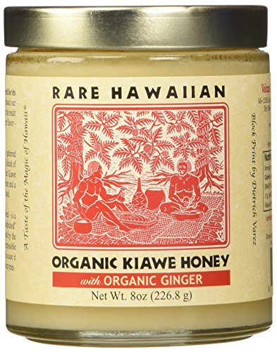 RARE HAWAIIAN Organic White Honey with Ginger, 8 OZ
