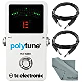TC Electronic PolyTune 2 Polyphonic Tuner and Accessory Bundle w/ Xpix 1/4'' TRS Cable & Fibertique Cloth