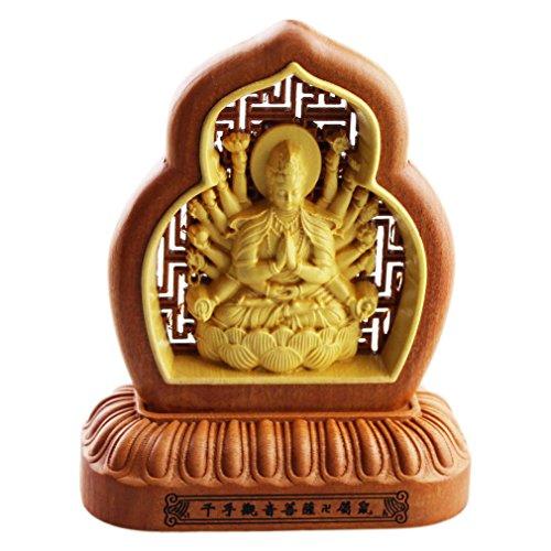 - FOY-MALL Jujube Wood and Boxwood Guardian of 12 Zodiac Rat Statue Thousand-hand Kwan-yin S1052