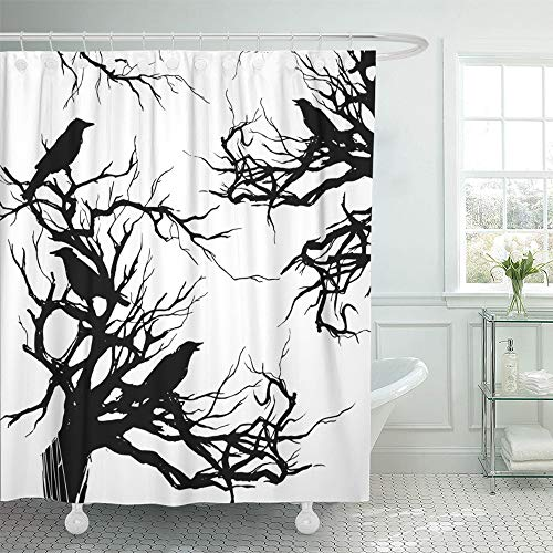 Emvency Decorative Shower Curtain Monochrome Watercolor Ink with Branches Twigs and Black Ravens Crows on The Old Dead 66