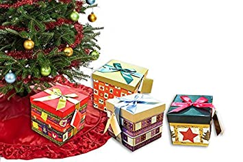 pack of 4 xmas present boxes nested oblong folded christmas gift box by pilot imports - Xmas Present