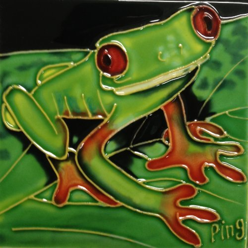 Continental Art Center SD-095 4 by 4-Inch Frog No.5 Ceramic Art Tile ()