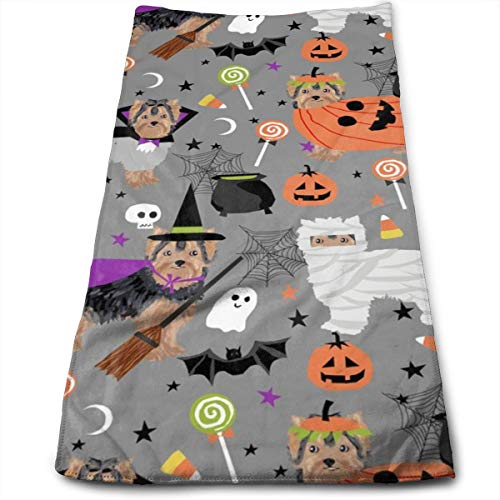 Yorkshire Terrier Yorkie Halloween Costumes Cute Dog Fall Autumn Hand Towels Dishcloth Floral Linen Hand Towels Super Soft Extra Absorbent for Bath,Spa and Gym 11.8