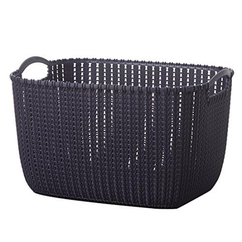 RAVPump Plastic Rattan-weaved Storage Basket Laundry Hamper Household Sundries Bins Clothes Toys Organizer with Handles (Dark Purple, Small)