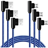 Right Angle Micro USB Cable 10FT 90 Degree Braided Long Android Phone Charger Cord 3 Pack Fast Charging and Syncing Charger for Samsung Galaxy S7 S6,Note,LG,Nexus(Blue Black,10ft)