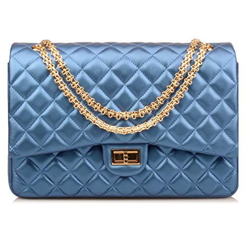 Ainifeel Women's Quilted Oversize Genuine Leather Shoulder Handbag Hobo Bag Purse (X-Large, Shine blue (gold hardware))