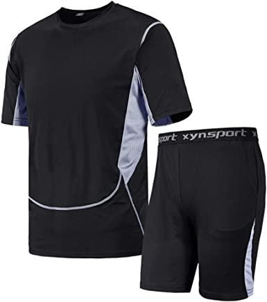 Men/'s Athletic Compression 3//4 Legging Shorts Shirt Activewear Workout Dri-fit