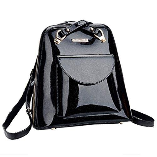 Tinksky® European-style Fashion Multipurpose Candy Color Leisure Backpack Shoulders Bag (Black)