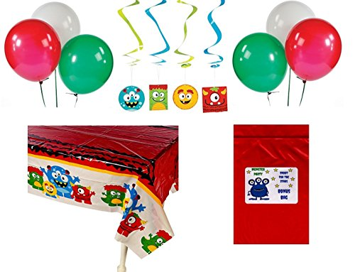 Monster Bash Kid's Birthday Party Decorations (1 Tablecover, 12 Hanging Swirls, 12 Balloons, Bonus Bag) by FX for $<!--$15.79-->
