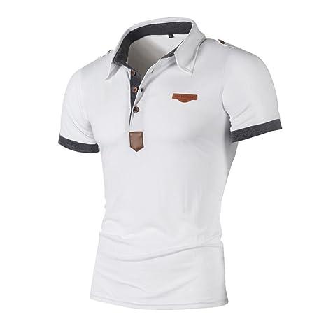 Hommes Casual Slim Manches Court Polo T-Shirt de Travail Sport Décontracté Loisir Haut Blanc XL S8jFLZjT5