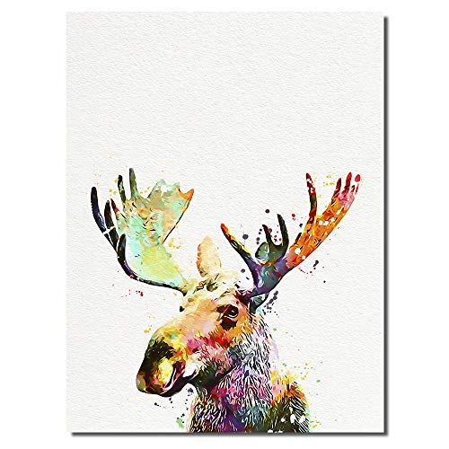 Moose Art Print Bull Poster Home Wall Decor Forest Animal Painting ()
