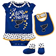 NHL St. Louis Blues Children Girls Love Hockey Bib & Bootie Set, 0-3 Months, Pro Royal