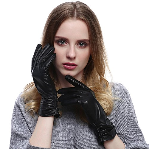 Vemolla Real Leather Sheepskin Gloves Villus Lining For Women Black L - Finger Sheepskin Leather Glove