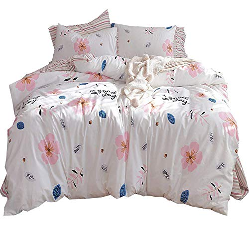 AMWAN Cotton Flower Kids Girls Duvet Cover Set Twin Fresh Soft Floral Bedding Set Reversible Striped Duvet Cover Set for Teens Children Zipper Closure Twin Bedding Collection with 2 Pillowcases