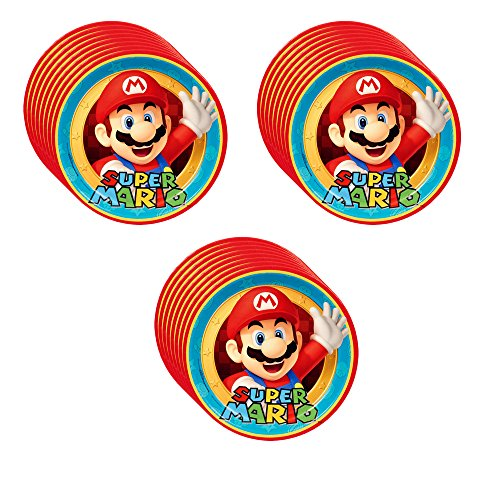 Super Mario Party Supplies Dinner Plates - 24 Pieces (Super Pinata Mario Star)
