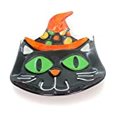 Tabletop CAT WITH WITCH HAT SHAPED PLATE Glass Halloween Black Kitty
