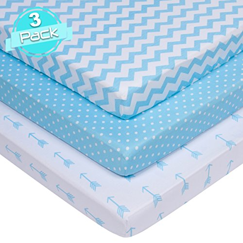 BaeBae Goods Jersey Cotton Fitted Pack n Play Playard Portable Crib Sheets Set | Blue and White | 150 GSM | 100% Cotton | 3 Pack …
