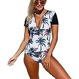 Best Victoria's Secret Bathing suits - Kalin Women One Piece Tankini Sunset Print Zip Review
