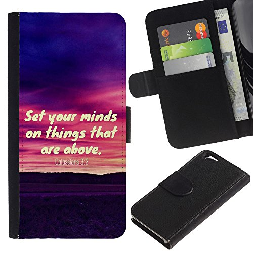 EuroCase - Apple Iphone 6 4.7 - COLOSSIANS 3:2 SET YOUR MINDS ON THINGS THAT ARE ABOVE - Cuir PU Coverture Shell Armure Coque Coq Cas Etui Housse Case Cover