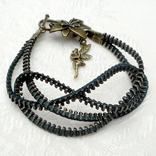 Celtic Infinity Knot Steampunk Upcycled Zipper Bracelet, Flower Claps w/Little Fairy, Gift For Mom