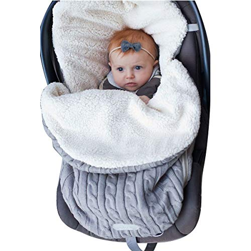 Newborn Baby Swaddle Blanket Wrap, Thick Baby Kids Toddler Knit Soft Warm Fleece Blanket Swaddle Sleeping Bag Sleep Sack Stroller Unisex Wrap for 0-12 Month Baby Boys Girls -