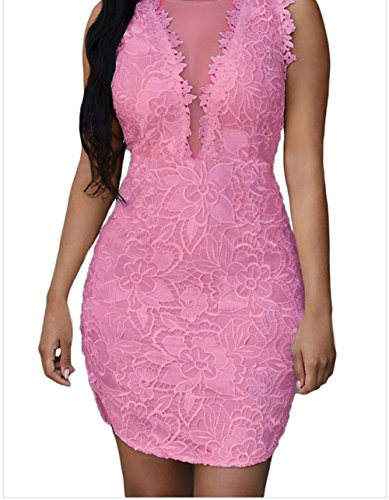 YeeATZ Lace Nude Mesh Accent Dress(Pink,L)