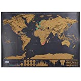 New Scratched Style Black Golden Scraping Tour Map World Edition Travel Map