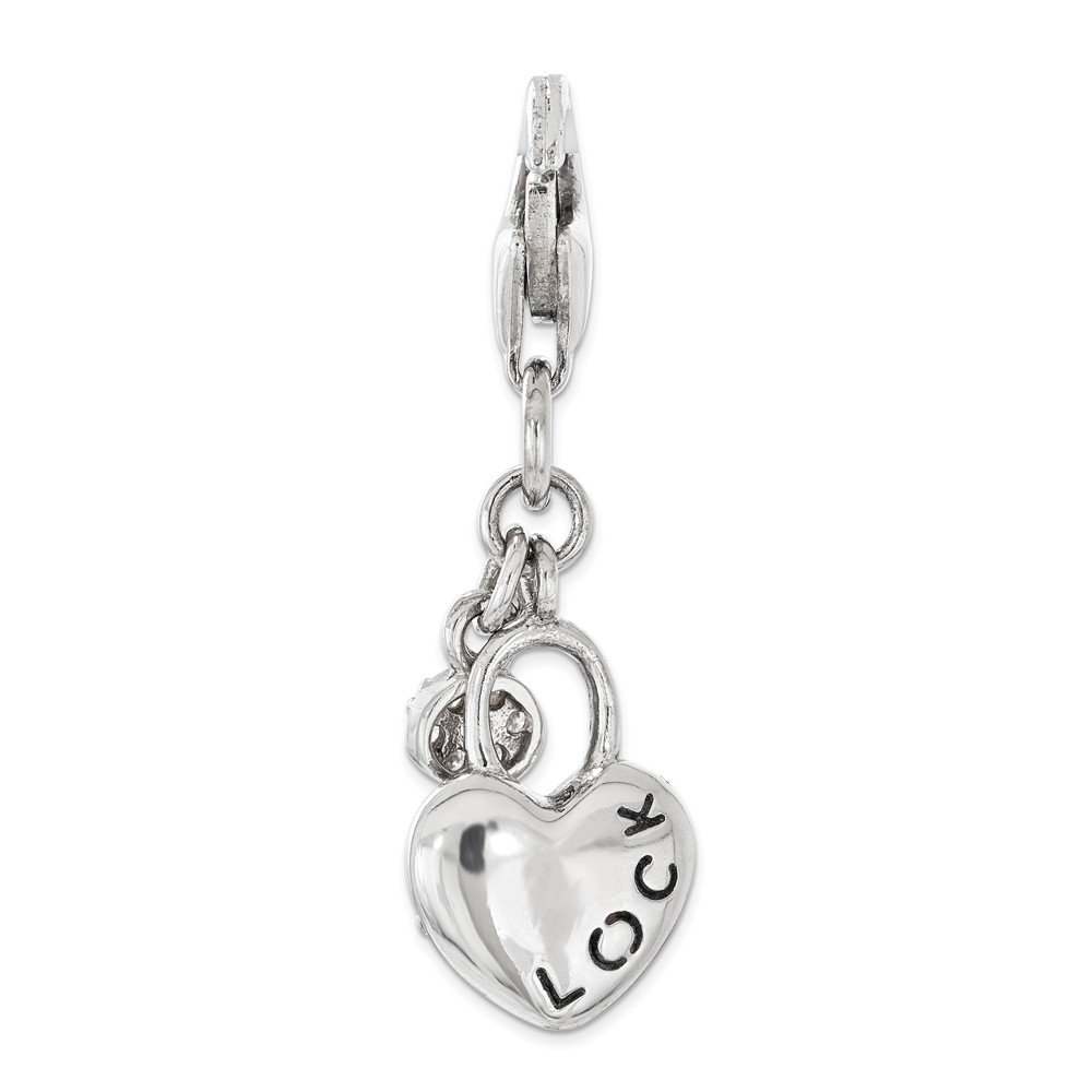 Jewel Tie 925 Sterling Silver with CZ Cubic Zirconia Lock and Key Heart Lobster Clasp Pendant Charm