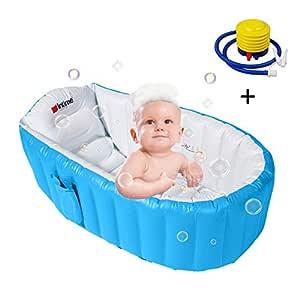 Pueri Bañera Hinchable Portátil para Bebés Niños Lavabo Infantil Piscinas Flatables Cuna para Bebés Viene con Bomba Infladora