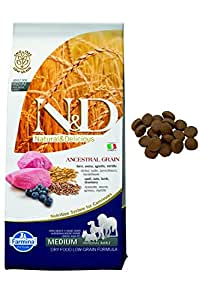 Farmina Natural and Delicious Ancestral Low-Grain Formula Dry Dog Food, 26.5-Pound, Lamb