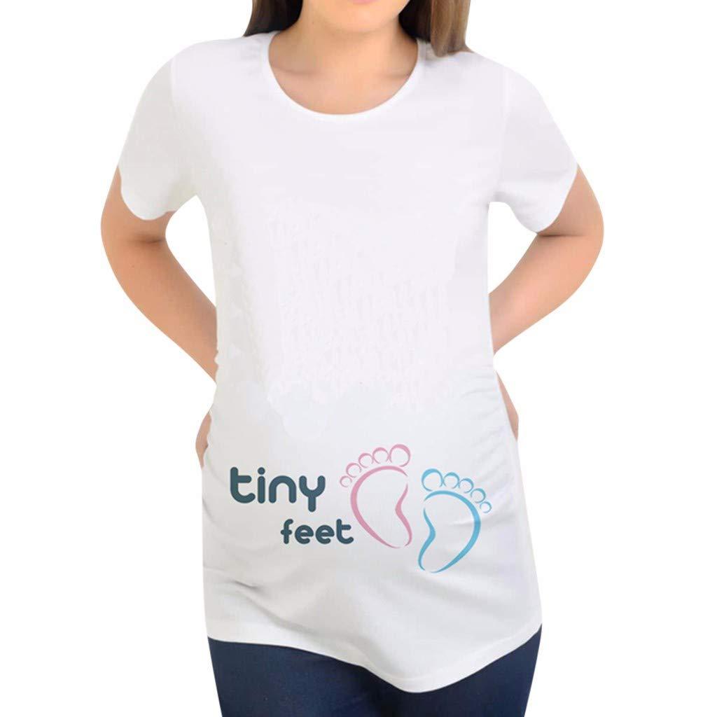 Iusun レディース マタニティトップス Oネック 小さな足 プリント 半袖 プラスサイズ ホワイトTシャツ 母 授乳 妊婦 夏 布 L グリーン B07PY1R78S